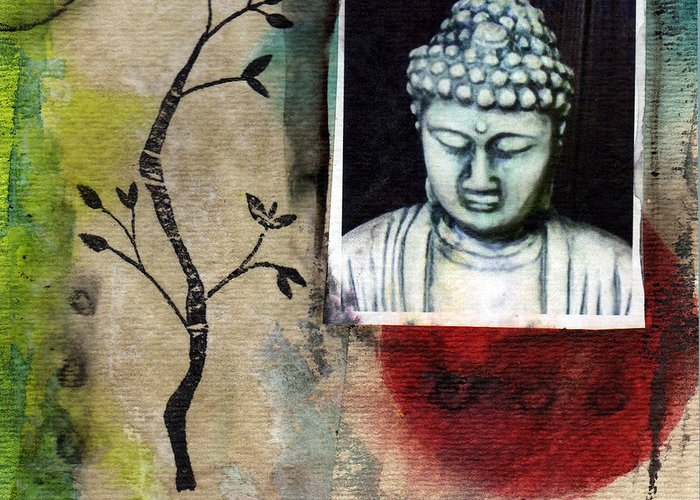 Namaste buddha greeting card for sale by linda woods buddha greeting card featuring the painting namaste buddha by linda woods m4hsunfo