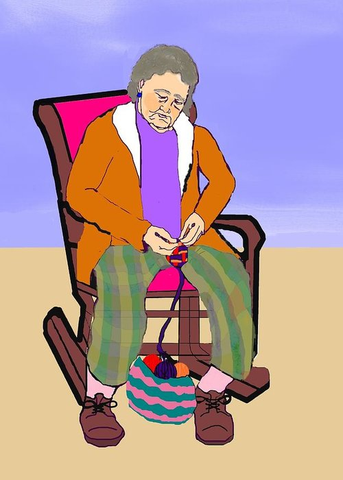 Grandmother Greeting Card featuring the digital art Nana Knitting by Pharris Art