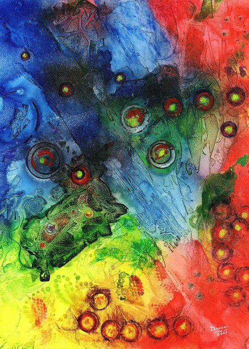 Nano Particles Greeting Card featuring the painting Nanobotica by James Douglas Draper