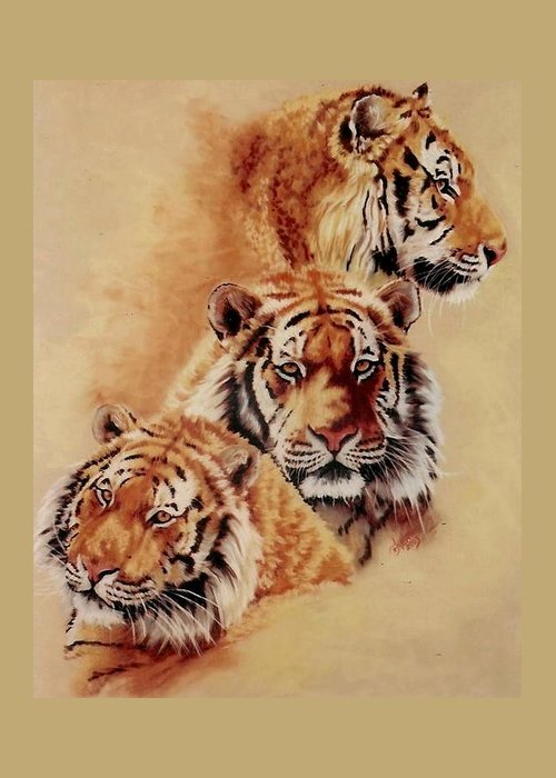 Tiger Greeting Card featuring the pastel Nanook by Barbara Keith