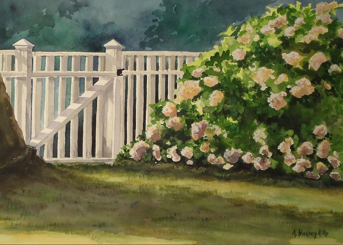 Picket Fence Greeting Card featuring the painting Nantucket Fence Number Two by Andrea Birdsey Kelly