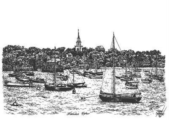 Sea Greeting Card featuring the drawing Nantucket Harbor by Dan Moran