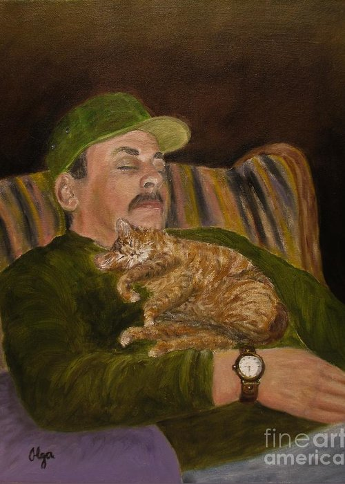 Cats Greeting Card featuring the painting Nap Time by Olga Silverman