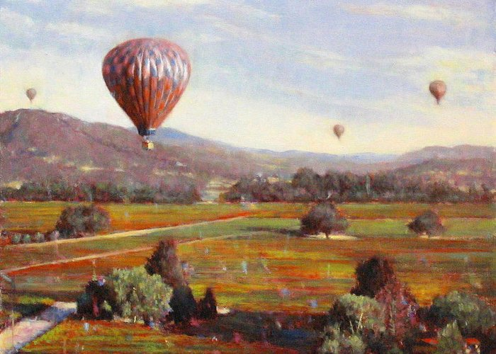 Wine Contry Greeting Card featuring the painting Napa Balloon Autumn Ride by Takayuki Harada