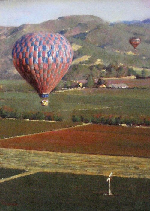 Wine Contry Greeting Card featuring the painting Napa Balloon Morning Ride by Takayuki Harada