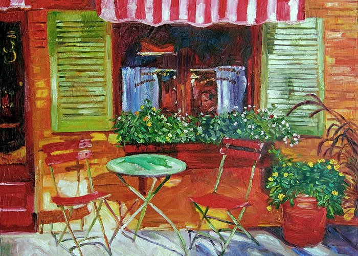 Bistro Greeting Card featuring the painting Napa Bistro by David Lloyd Glover