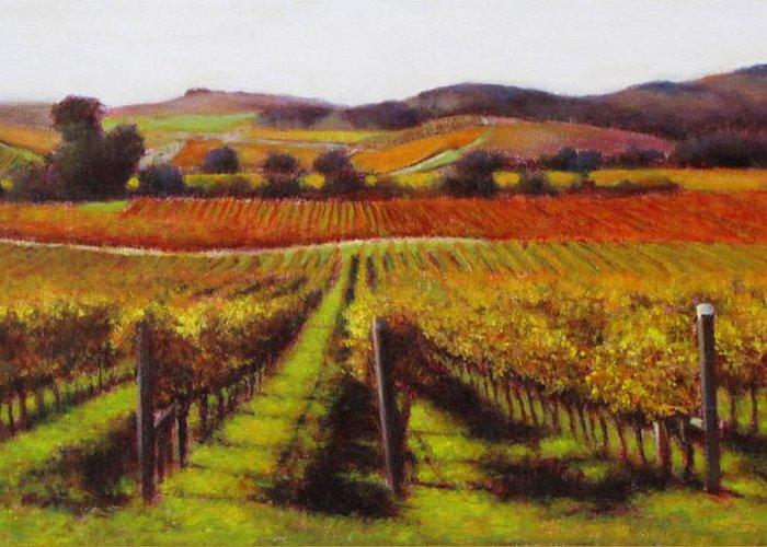 Wine Painting Greeting Card featuring the painting Napa Carneros Vineyard Autumn Color by Takayuki Harada