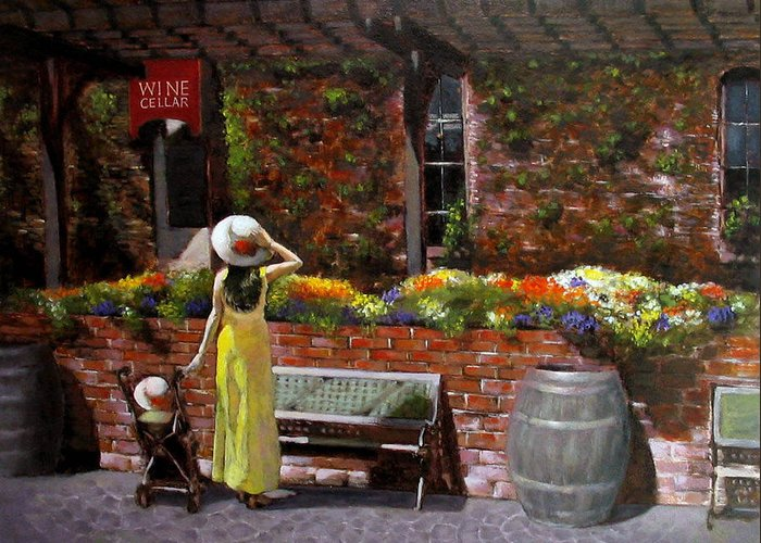 Landscape Greeting Card featuring the painting Napa Wine Cellar In Spring by Takayuki Harada