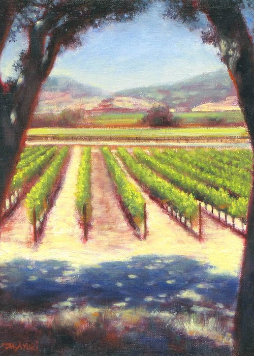 Wine Country Greeting Card featuring the painting Napa Wine Vineyard Summer by Takayuki Harada