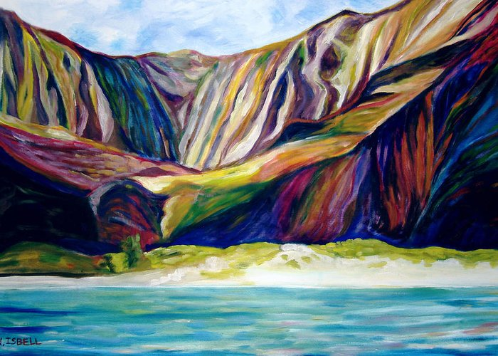 Water Greeting Card featuring the painting Napali Coast by Nancy Isbell