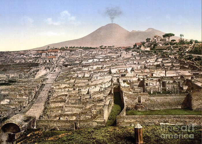 1890 Greeting Card featuring the photograph Naples: Mt. Vesuvius by Granger