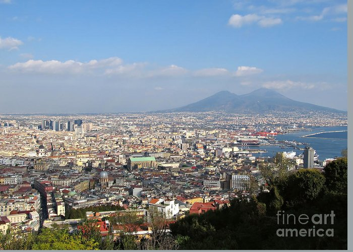 Naples Greeting Card featuring the photograph Naples Panoramic View by Kiril Stanchev