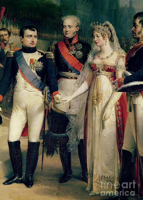 Napoleon Greeting Card featuring the painting Napoleon Bonaparte Receiving Queen Louisa Of Prussia by Nicolas Louis Francois Gosse