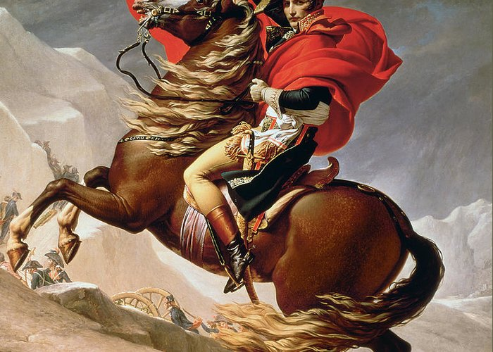 Bonaparte; Mounted; Portrait; Horse; Horseback; Male; Marengo; Rearing; Napoleon I; 1769-1821 Greeting Card featuring the painting Napoleon Crossing The Alps by Jacques Louis David