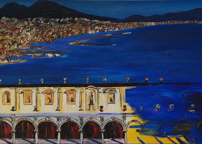 Italy Greeting Card featuring the painting Napoli by Gregory Allen Page