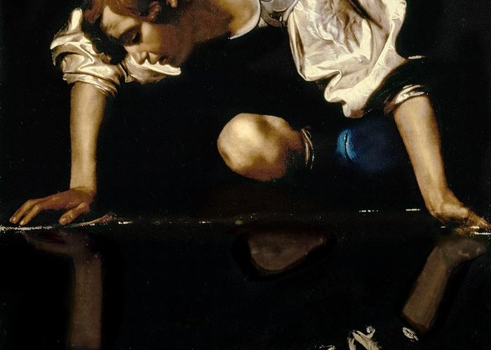 Narcissus Greeting Card featuring the painting Narcissus by Caravaggio