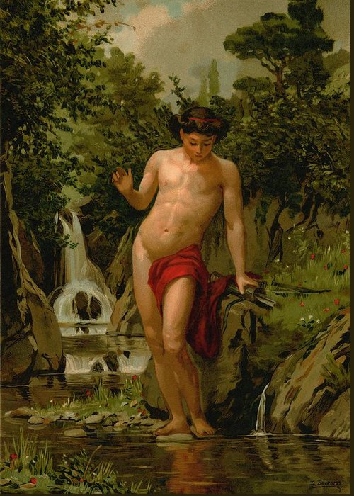 Narcissus Greeting Card featuring the painting Narcissus In Love With His Own Reflection by Dionisio Baixeras-Verdaguer