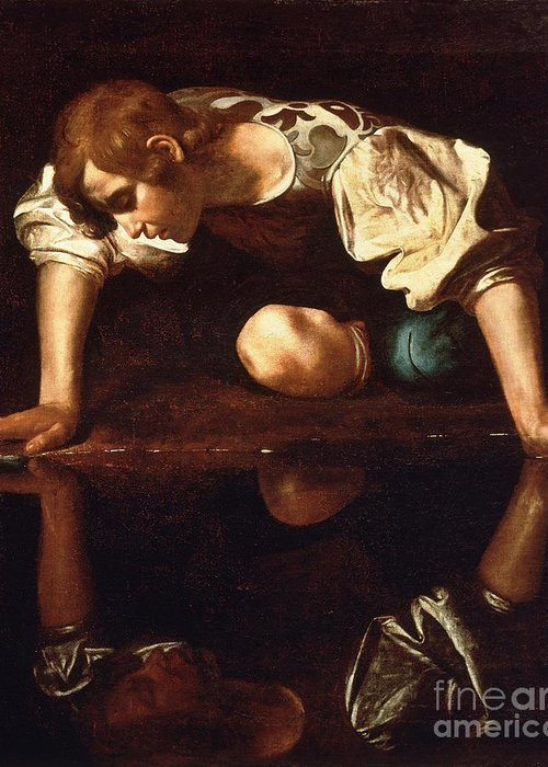 1596 Paintings Greeting Card featuring the painting Narcissus by Pg Reproductions