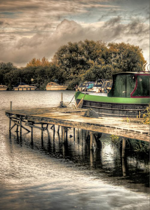 Hdr Greeting Card featuring the photograph Narrow Boat And Jetty by Vicki Field