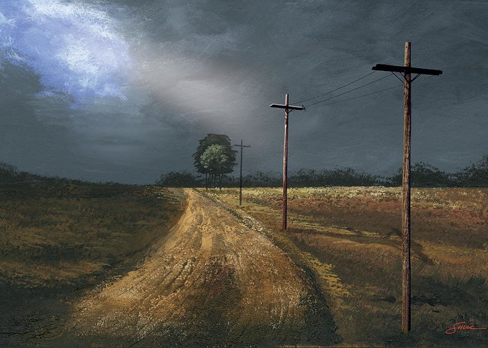 Harold Shull Greeting Card featuring the painting Narrow Is The Road by Harold Shull