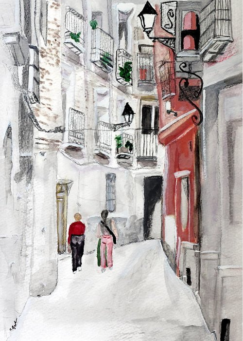 Europe Girls Flats Apartments Condo Street Old City Town Narrow Greeting Card featuring the painting Narrow Street by Cathy Jourdan