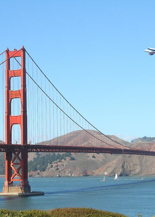 San Francisco Greeting Card featuring the photograph Nasa Space Shuttle's Final Hurrah Over The San Francisco Golden Gate Bridge by Wingsdomain Art and Photography