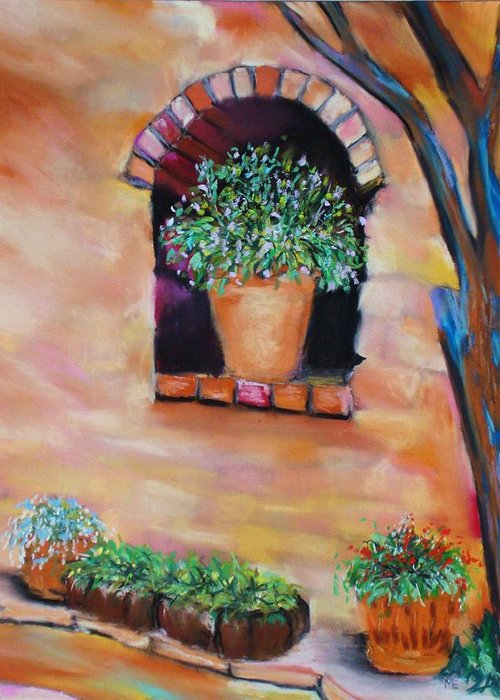 Courtyard Greeting Card featuring the painting Nash's Courtyard by Melinda Etzold