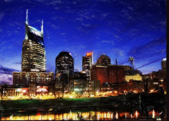 Landscape Greeting Card featuring the painting Nashville At Twilight by Dean Wittle
