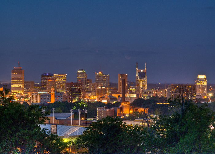 Nashville Greeting Card featuring the photograph Nashville By Night 2 by Douglas Barnett