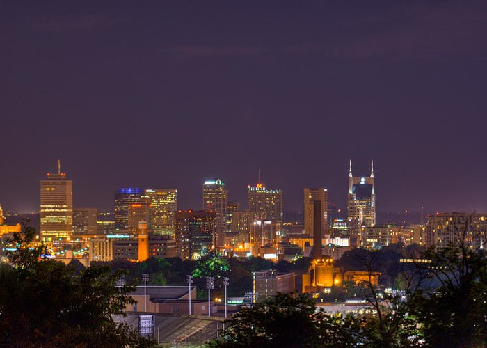 Nashville Greeting Card featuring the photograph Nashville By Night 3 by Douglas Barnett