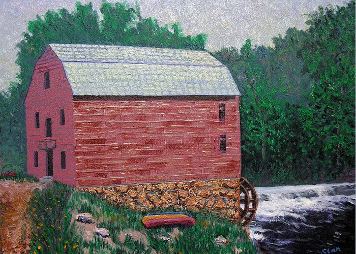 Gristmill Greeting Card featuring the painting Nashville Gristmill by Stan Hamilton