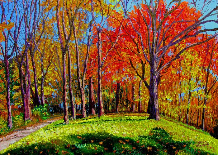 Trees Autumn Hill Grass Sunshine Shadows Sky Colors Path Greeting Card featuring the painting Nashville North by Stan Hamilton