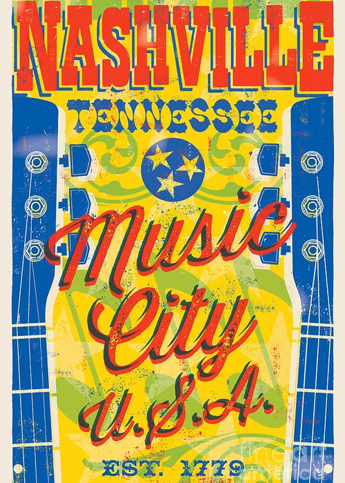 Guitars Greeting Card featuring the digital art Nashville Tennessee Poster by Jim Zahniser