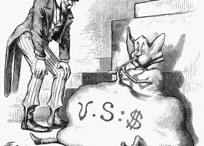 1873 Greeting Card featuring the photograph Nast: Inflation, 1873 by Granger