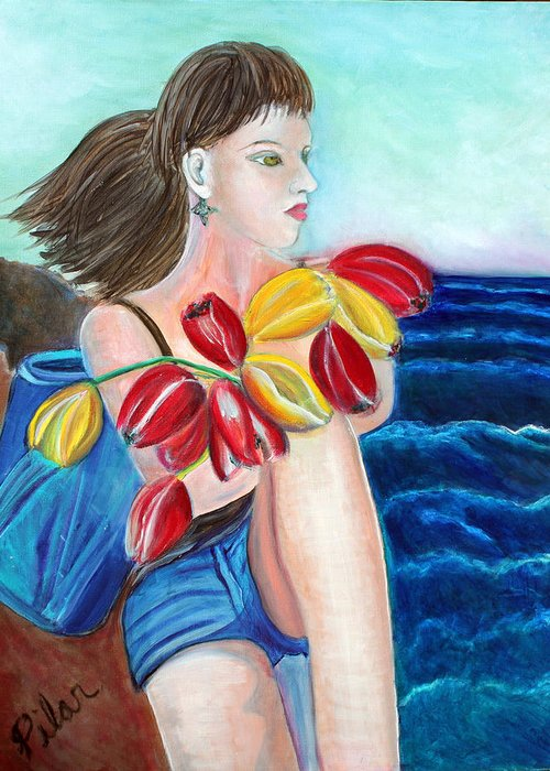 Greeting Card featuring the painting Natasha by the Sea by Pilar Martinez-Byrne
