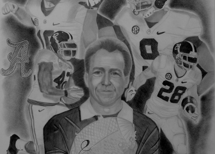 Crimson Tide Greeting Card featuring the drawing National Champs 2012 by Stephanie Taylor