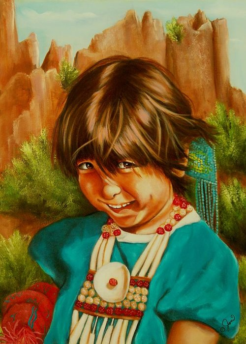 Portrait Greeting Card featuring the painting Native American Girl by Joni McPherson