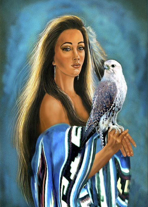 Artwork Greeting Card featuring the painting Native American Maiden With Falcon by Regina Femrite