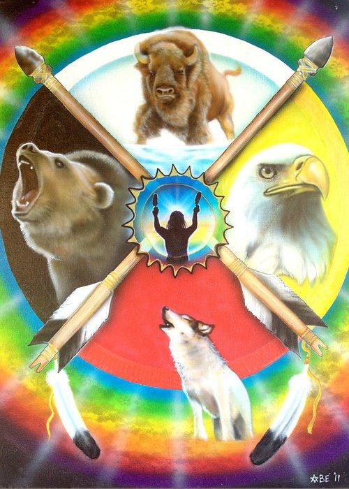 Native American Indian Medicine Wheel Greeting Cards
