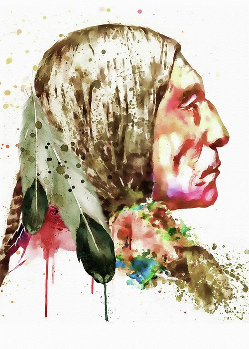 Native American Greeting Card featuring the painting Native American Side Face by Marian Voicu