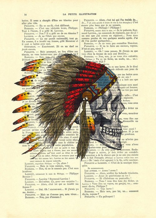 Native American Greeting Card featuring the digital art Native American Skull by Madame Memento
