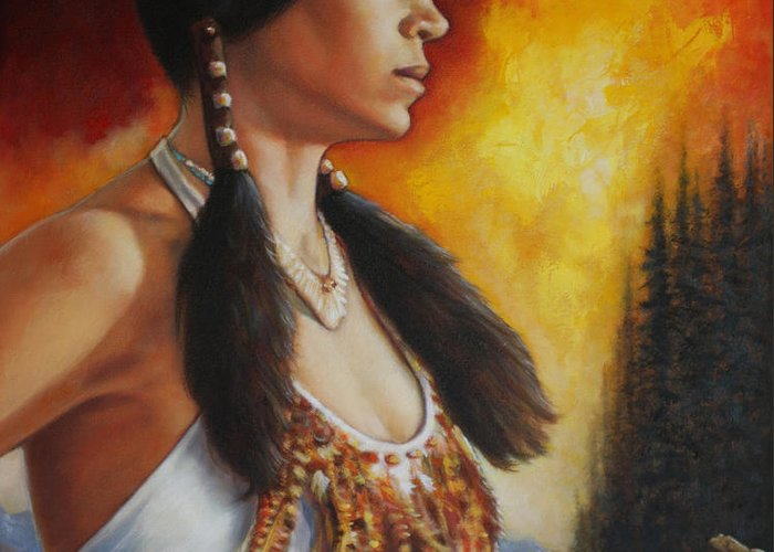 Native American Female Greeting Card featuring the painting Native Pride by Harvie Brown