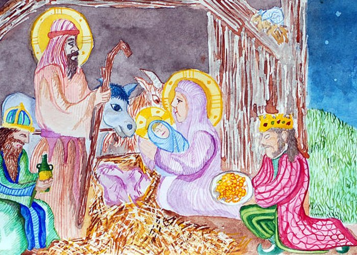 Christ Greeting Card featuring the painting Nativity by Jame Hayes