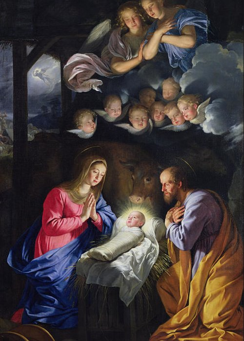 Jesus;infant Christ;virgin Mary;madonna;joseph;cherubim;seraphim;angels;angel;swaddling Clothes;praying;prayer;stable; Christ Greeting Card featuring the painting Nativity by Philippe de Champaigne