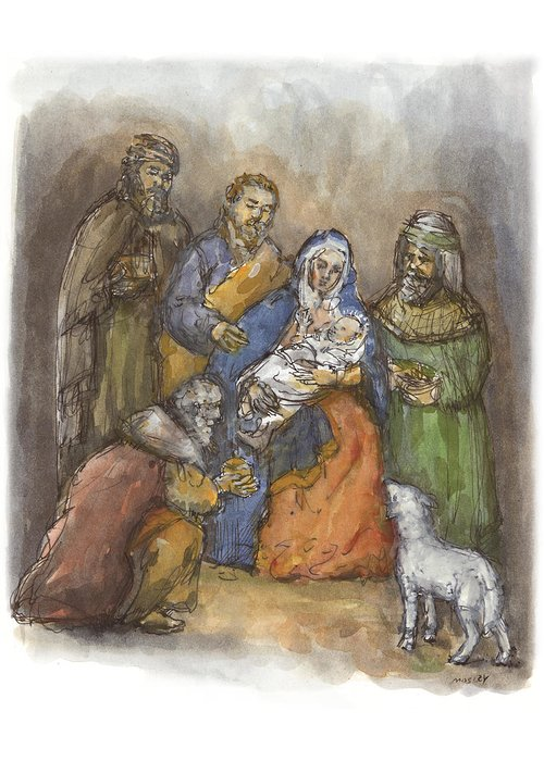 Nativity Greeting Card featuring the painting Nativity by Walter Lynn Mosley