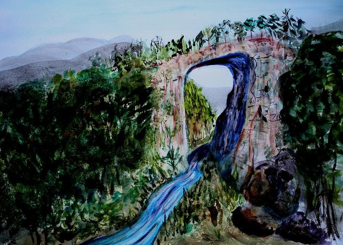 Virginia Greeting Card featuring the painting Natural Bridge In Virginia by Donna Walsh