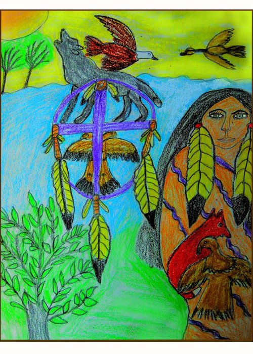 Dream Catchers Greeting Card featuring the drawing Natural Dream Catcher by Betty J Roberts