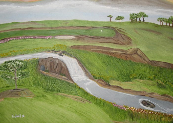 Golf Greeting Card featuring the painting Natural Golf by Edwin Long