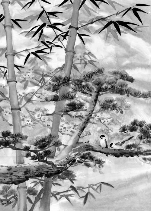 Black And White Greeting Card featuring the painting Nature by Eileen Fong