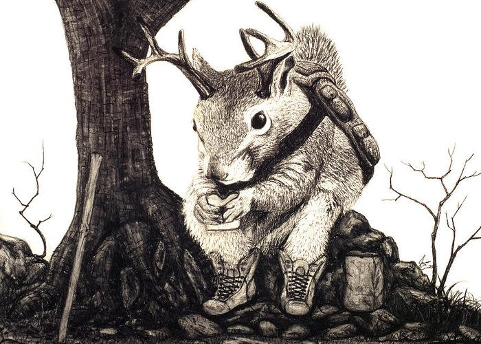 Animal Greeting Card featuring the drawing Nature Hike by Jaison Cianelli